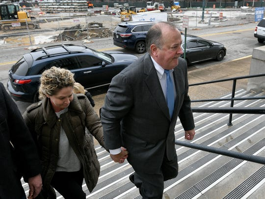 Mark Hazelwood leaves the Joel W. Solomon Federal Courthouse in Chattanooga on Wednesday, Feb. 14, 2018. The former Pilot Flying J president was convicted of conspiracy to commit wire and mail fraud, witness tampering and one individual count of fraud the following day.