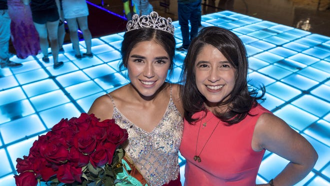 Golden West High School Homecoming Queen Faith Hernandez, left, poses with her mother Melissa Hernandez on Friday, September 22, 2017. Melissa was also a homecoming queen at Golden West High School in 1989.