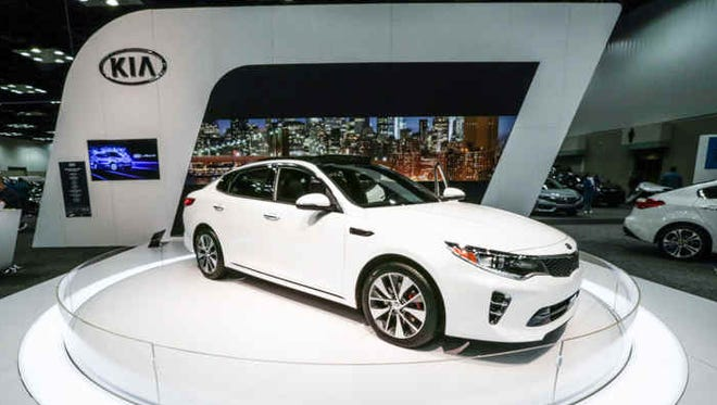 The 2016 KiA Optima SXL Sport Limited is on display at the 100th Indianapolis Auto Show held at the Indianapolis Convention Center, Saturday, Dec. 26, 2015.
