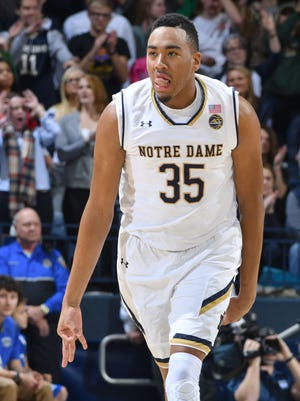 Dec 6, 2016; South Bend, IN, USA; Notre Dame Fighting Irish forward Bonzie Colson (35) reacts after a three point basket in the first half against the IPFW Mastodons at the Purcell Pavilion. Mandatory Credit: Matt Cashore-USA TODAY Sports