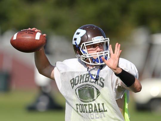 East Rochester/Gananda quarterback Patrick Shanley looks downfield during a preseason practice last summer.