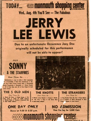 An Asbury Park Press ad for Jerry Lee Lewis' show at Monmouth Shopping Center (now Monmouth Mall) in Eatontown on August 4, 1965. Sonny & the Starfires opened.