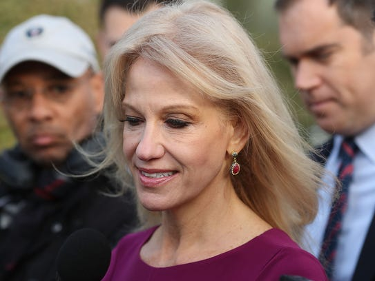 White House counselor Kellyanne Conway speaks to reporters