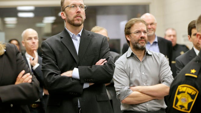 County Board Chairman Theodore Lipscomb Sr. and Milwaukee County Executive Chris Abele during a tour of the Milwaukee County Jail.