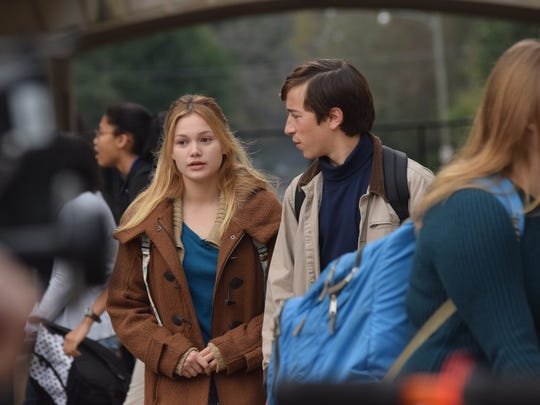 "Actors Olivia Holt (left) and Skyler Gisondo star in the movie ""Class Rank,"" which is being filmed in Alexandria. The production crew was at Bolton High School on Wednesday filming scenes with Bolton students as extras."
