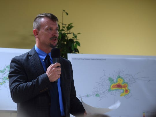Helen Ross McNabb CEO Jerry Vagnier addresses concerns about a proposed safety center at a public meeting on Thursday, March 2.