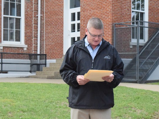 Union County Judge-executive Jody Jenkins reads a proclamation in this file photo.