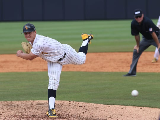 Southern Miss' Kirk McCarty delivers to the plate against