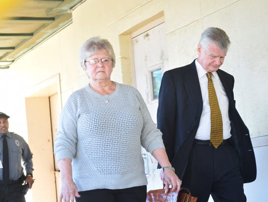 Margaruette Beard (left) arrives with her attorney, George Higgins III, at the federal courthouse in downtown Alexandria last year. Beard was sentenced on Tuesday to three years and a month in prison for stealing money, including federal funds, from the Rapides Parish District Attorney's Office during her decades as a bookkeeper.