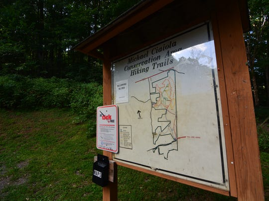 The trailhead at the Michael Ciaiola Conservation Area