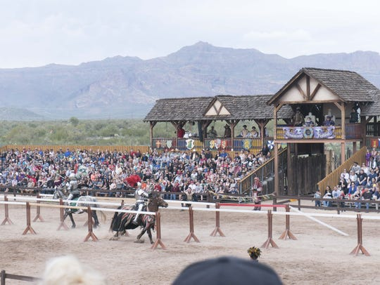 The Arizona Renaissance Festival spans 30 acres in Gold Canyon which are transformed from desert to a 16th-century English village filled with costumed nobles and commoners.