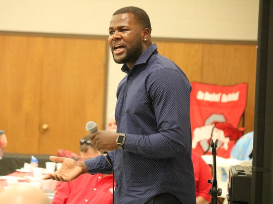 Former Ohio State quarterback Cardale Jones spoke at