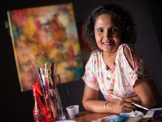 Mixed-media artist Kumari de Silva is inspired by color