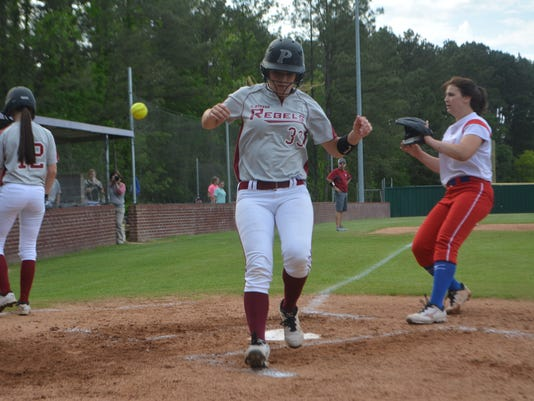 ANI Pineville vs. Haughton Pineville's Rebecca Martin (33, center) crosses home plate against Haughton Tuesday, April 21, 2015.-Melinda Martinez/mmartinez@thetowntalk.com