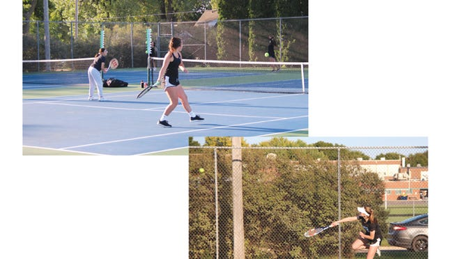 (Left) At #3 doubles, Lexanna Lazatin (left) watched her teammate Presley Dockter return a serve during their close match with Waseca. (Right) Kaydince Thoms, No. 2 singles, launched a serve at her Waseca opponent on Sept. 10.