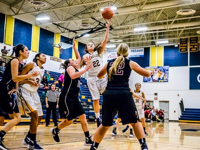 Vanessa Odlum, 22, of Grand Ledge takes the ball to the basket over Portland defenders during their season opening game Tuesday.