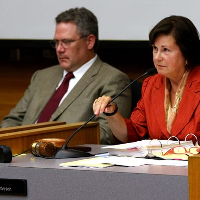 Mayor Anna Peterson speaks during a City Council meeting