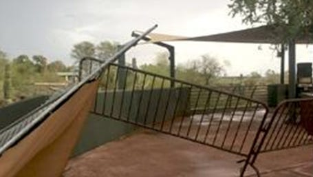 The Phoenix Zoo was damaged by storms on Thursday that knocked down trees, caused broken tents and flooding.