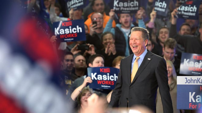 Republican party presidential candidate and Ohio Gov. John Kasich after projections showed he won the Ohio primary March 15. He spoke to supporters and the press at an Ohio primary election night watch party at Baldwin Wallace University in Berea, Ohio.