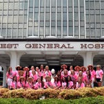 Contestants in the Mississippi Miss Hospitality Pageant pose for a photograph outside the Forrest General Hospital Tuesday. Pageant winners from across the state have arrived in Hattiesburg to compete for the title of Miss Hospitality.