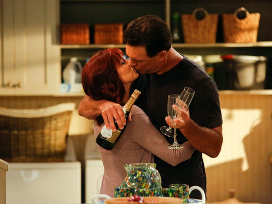 Carrie Preston, left, and Patrick Warburton play a
