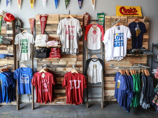 Tees line the walls at The Shop, 920 Broad Ripple Ave.