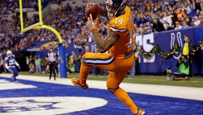 Denver Broncos wide receiver Cody Latimer (14) makes a catch for a two-point conversion during the second half of an NFL football game against the Indianapolis Colts in Indianapolis, Thursday, Dec. 14, 2017. (AP Photo/AJ Mast)