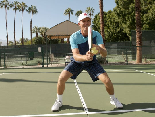 Marcin Rozpedski demonstrates proper pickleball form,