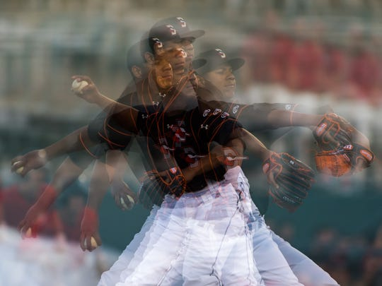 Delmarva Shorebirds starting pitcher Ofelky Peralta (26) throws to a Kannapolis Intimidators batter on Tuesday, June 14 at Arthur W Perdue Stadium in Salisbury.