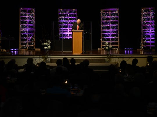 """More than 300 people attended Sacred Heart of Jesus High School's banquet Tuesday to hear from Herman Boone, former T.C. Williams High School head football coach and inspiration for the movie """"Remember the Titans."""""""