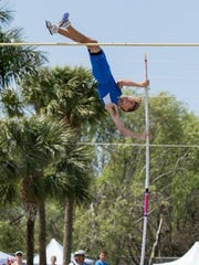 Community School pole vaulter Kane Aldrich competes in a meet during the 2016 season.
