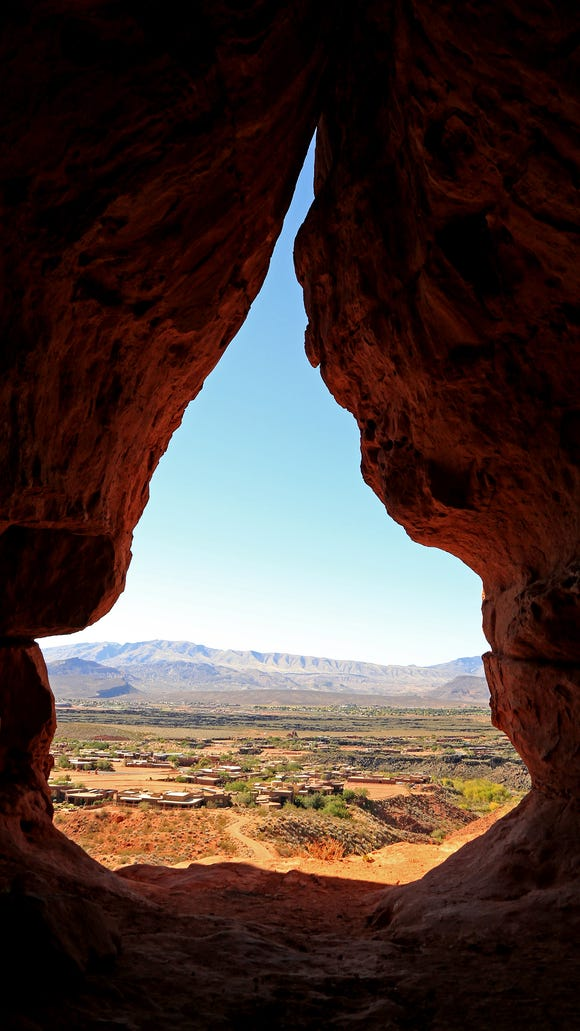 Scout Cave offers a wonderful view out over Ivins City and toward the Beaver Dam Mountains in the west.