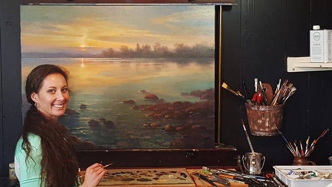 """Because she grew up on a lake, many of Brooke Wetzel's pieces feature water and sunlight. On having a piece in The Russell, Wetzel says """"It's just lit a fire for me to just want to put my best foot forward."""""""