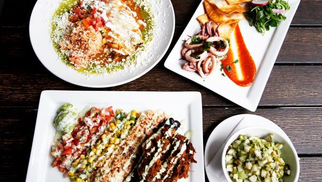 Clockwise from top left, Mountain Madre's enchiladas, calamari, picklemole and carnitas April 5, 2017,
