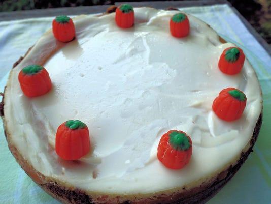 Pumpkin cheesecake decorated