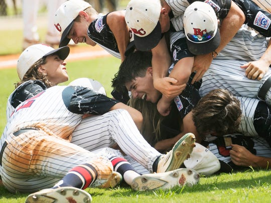 The Rutherfordton Little League team celebrates after beating the South Fort Myers Little League Junior baseball team at the South East Regional Championship game at Sam Fleishman Regional Sports Conplex. The Rutherfordton came from a 2-0 deficit.