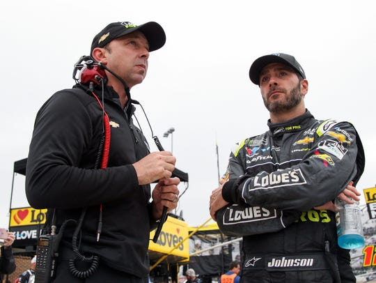 Jimmie Johnson, right, and his crew chief Chad Knaus