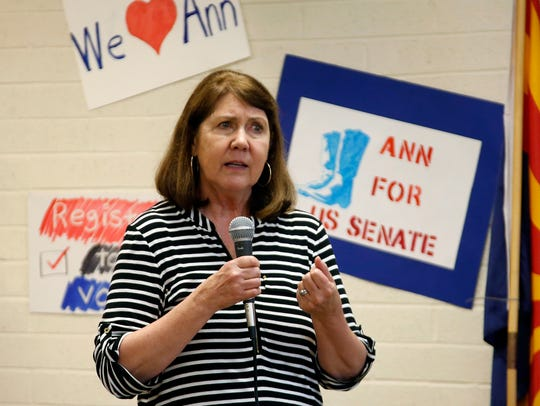 Democrat Ann Kirkpatrick speaks at a Tucson, Ariz.,