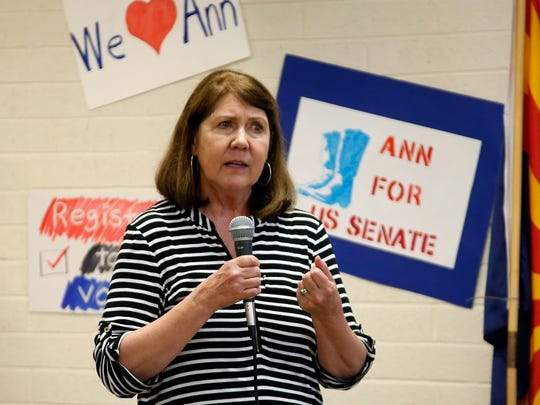 Democrat Ann Kirkpatrick speaks at a Tucson, Ariz., campaign office opening for her 2016 Senate race in this June 4, 2016, file photo.