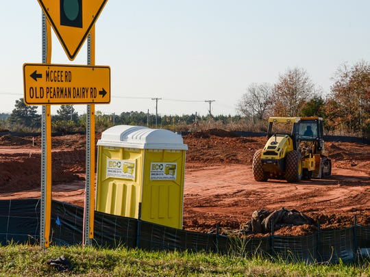 Grading machinery at the site where a new Flowers Discount Bakery is being built on State 28 Bypass, near Old Pearman Dairy Road in Anderson.