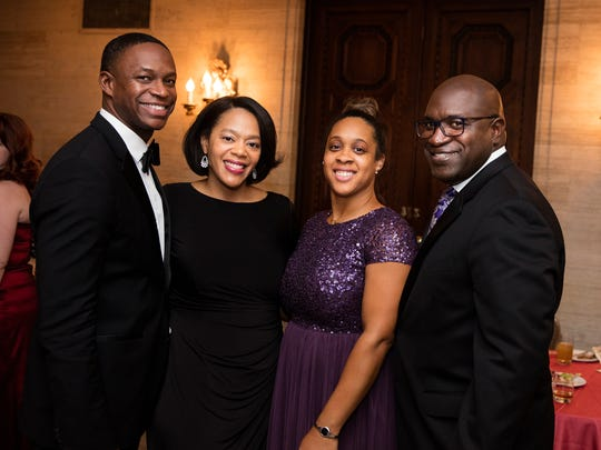Tarik and the Honorable Natalie Haskins, left, with Grand trustee Kimberly Green-Cauley and Grand board member Cleon Cauley at the Grand Gala after-party at the Hotel duPont.