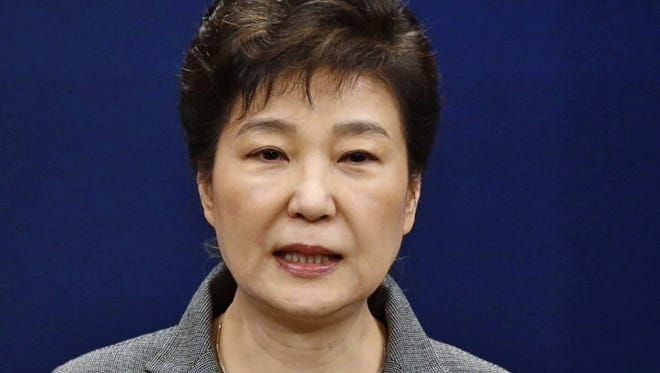 In this Nov. 29, 2016, file photo, former South Korean President Park Geun-hye makes a live televised address in Seoul, South Korea.