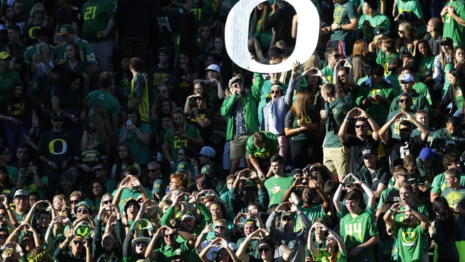 Oregon fans pack Autzen Stadium in Eugene, Ore., for the Ducks' game September 26, 2015. It appears possible there will be no fans at Autzen Stadium after Gov. Kate Brown's recommendation earlier this month that all large sporting events through September will need to be canceled or modified due to COVID-19.  [2015 file photo/Andy Nelson/The Register-Guard] - registerguard.com