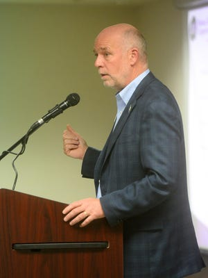 Gubernatorial candidate Greg Gianforte speaks at the Montana Electric Cooperatives' Association annual meeting in the Heritage Inn.