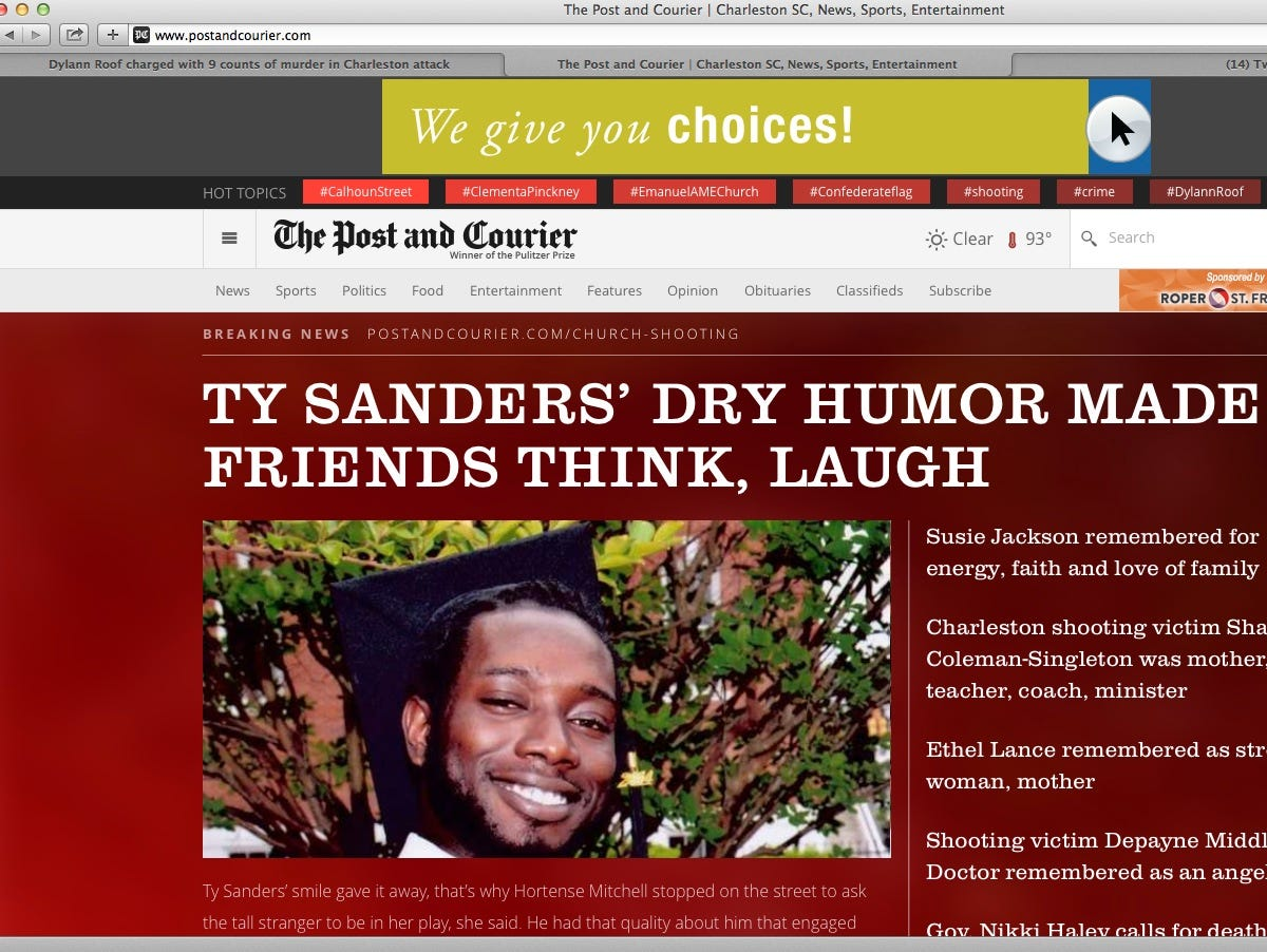 The website of the Charleston S.C. Post and Courier after it was restored June 19,2015, after suffering a denial of service attack.