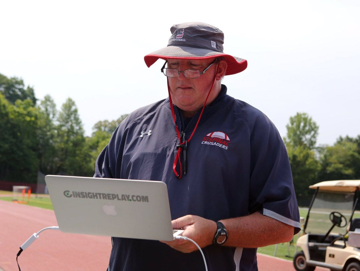 Stepinac coach Mike O'Donnell is pictured during practice in 2015.
