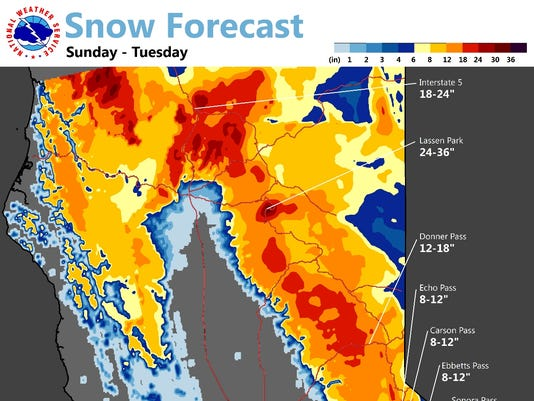 Snow forecast for the North State