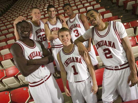Bawa Muniru (front row, from left), Jordan Hulls, Christian Watford, Derek Elston (second row, from left), Bobby Capobianco, and Maurice Creek, pose for a portrait of new freshmen on IU's men's basketball team, at Assembly Hall, Nov. 5, 2009.