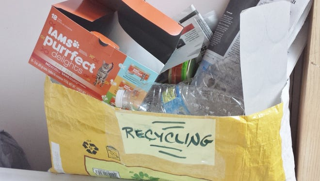 A recycling container could be something as simple as a big plasticized empty dog food bag that is used over and over again to contain recyclables in your laundry room or kitchen.