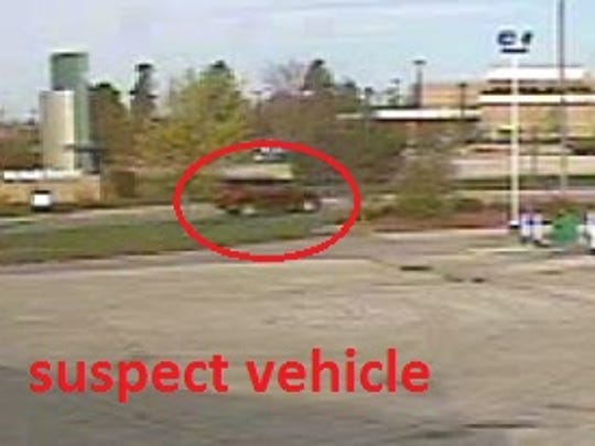 Manitowoc Police Department said the suspected vehicle (pictured in this surveillance video) in a credit card skimming attempt Thursday morning at a west-side gas station was described as a Chevrolet pickup truck, dark burgundy in color.
